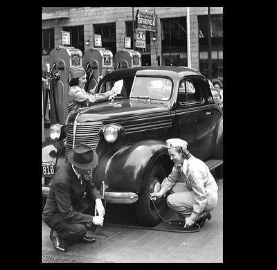 Vintage 1942 Girls Gas Station PHOTO Women Service Attendants, Girl Power!