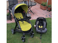 NEW BOXED GRACO COMPACT SPORT TRAVEL SYSTEM PUSHCHAIR WITH CAR SEAT RAINCOVER - DARK LIME STROLLER