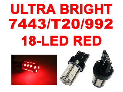 6x 7440/7443 T20 18 SMD 5050 LED Plasma Red Tail Turn Signal Car Light Bulb Lamp