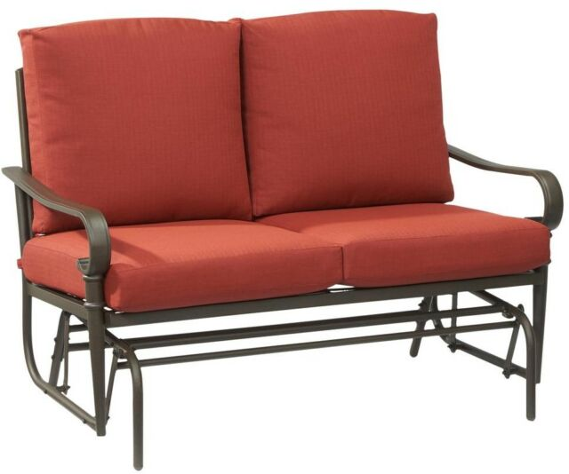 Metal Outdoor Glider With Chili Cushions Outdoor Patio Furniture Backyard  Décor