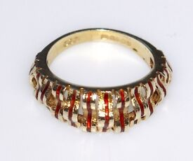 STUNNING VALENTINE GIFT RARE ART DECO BAND 9CT SOLID GOLD ENAMEL RING SIZE M 1/2 FULLY HALLMARKED