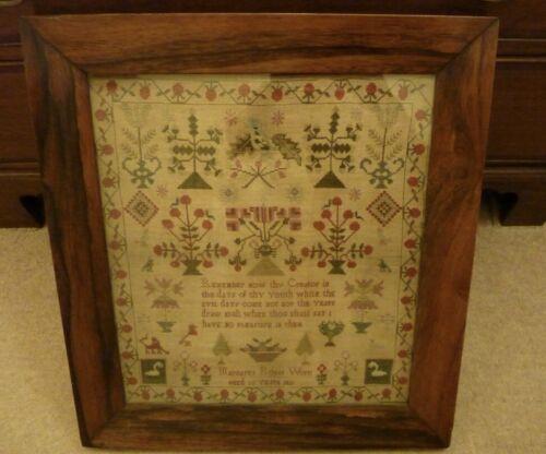 Antique Needlework Sampler in Original Rosewood Frame Dated 1831