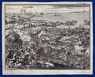 vintage original etching Tunis fall 1574 Spain Turkey army gravure Kupferstich