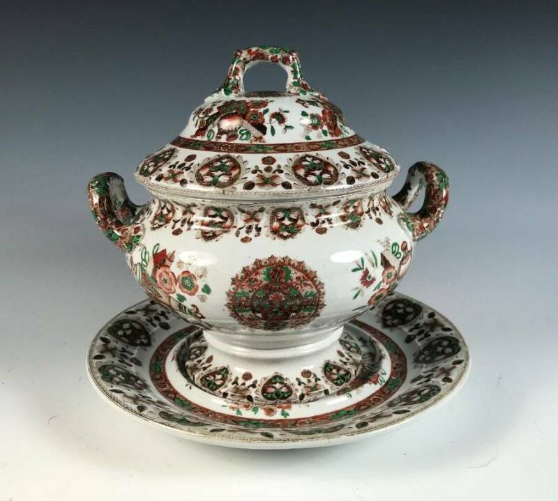 Mid-1800s Antique English COPELAND (Spode) China Sauce Tureen ~ Pattern 5711