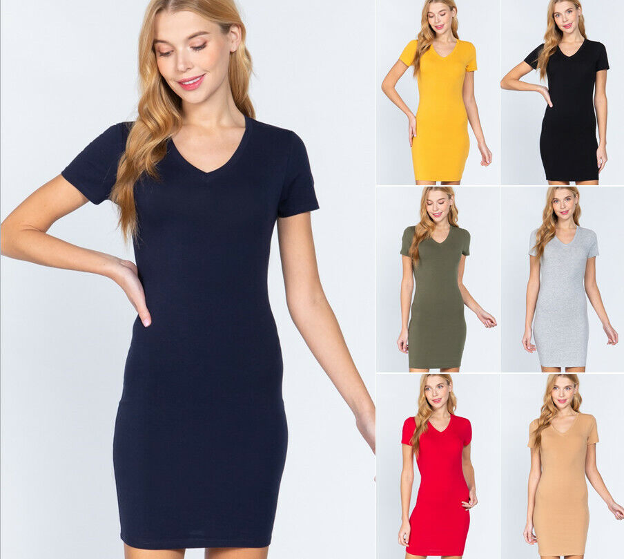 Women's Short Sleeve V Neck Cotton Jersey Mini Dress Clothing, Shoes & Accessories