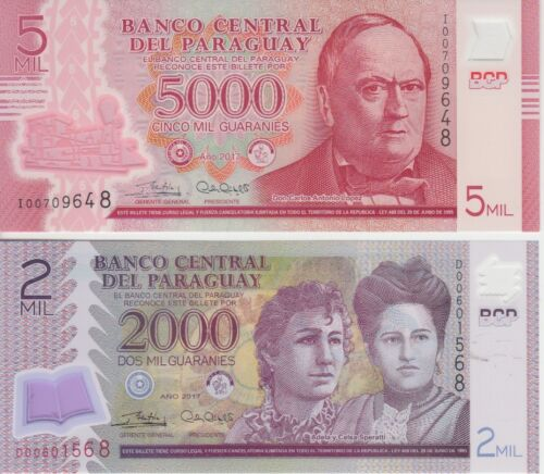 Paraguay banknote p228-234 pair, 2000 + 5000 Guaranies 2017 Polymer, UNC