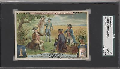 1907 Liebig Electricity French #2 L'Electricite (Benjamin Franklin) Card k5c