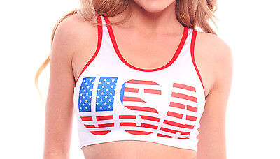 Sexy USA American Flag, Uncle Sam Hat Crop Top. Made in America. O/S. PA068.