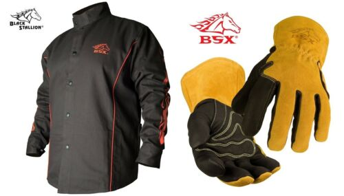 Welding Jacket Black with Red Flames with MIG Welding Glove BX9C & BM88 Large