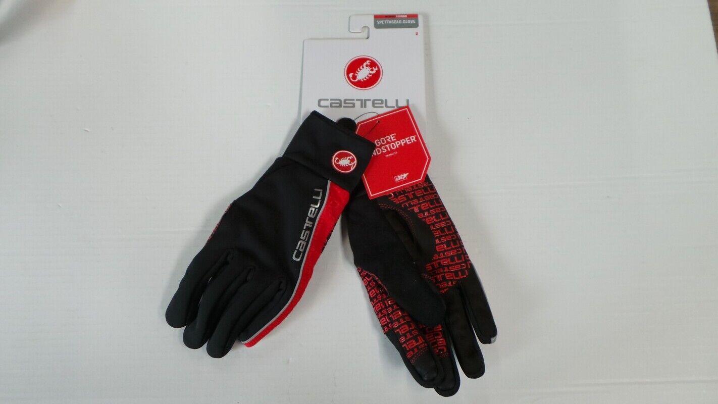 Castelli Spettacolo Unisex Gloves, Size S, Black/Red