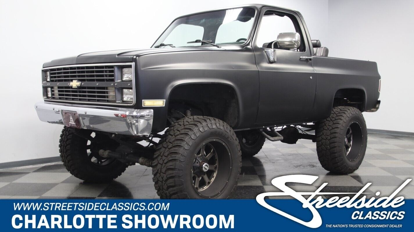 classic vintage chrome 4 wheel drive off road lifted Chevy SBC automatic