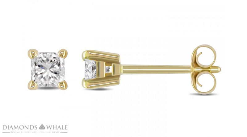Engagement Diamond Earrings 1.2 Ct Si1/f Stud Princess 18k Yellow Gold Enhanced