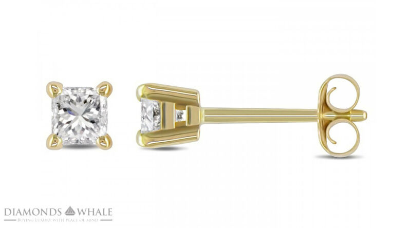 Princess Enhanced Engagement Diamond Earrings 1.5 Ct Si1/d 18k Yellow Gold