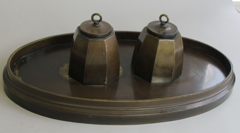 """Large Signed 18"""" Antique BRONZE Inkwell  Art & Crafts Style  c. 1920   sculpture"""