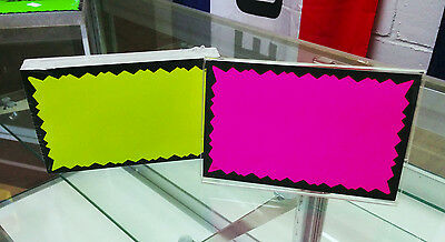 100 Blank 3.5 X 5.5 Fluorescent Burst Neon Retail Sale Signs Cards 25 Each Color