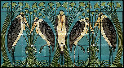 Art Nouveau Cranes Still Life Marble Tile Mural Backsplash 44x24 William Morris