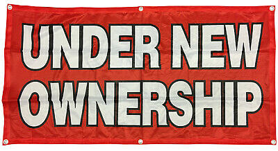 Under New Ownership Banner Sign Vinyl Alternative 2x4 Ft - Fabric Rb