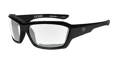 Harley-Davidson Wiley X Kicker Clear Motorrad Brille, Schwarz / klar, Gr. M-L