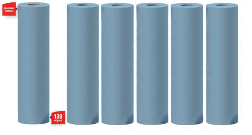 "WYPALL X60 Wipes 35431 6 Tall rolls of 130 blue sheets 19.6"" High x 13.4"" Wide"