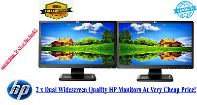 Cheap 2 X 19 INCH LCD DUAL WIDESCREEN MONITORS GAMING SCREEN COMPUTER...