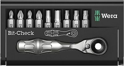 Wera Tools Germany Bit Set Bit Checker Bit & Ratchet 10 Piece Star Pozi TX