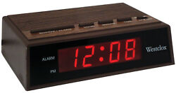Westclox 22690 Digital LED Woodgrain Alarm Clock