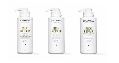 3 x Goldwell RICH REPAIR 60 SEC TREATMENT 500 ml = 1500 ml deutsche Produkte ()