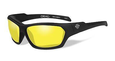 Harley-Davidson Wiley X Drag Yellow Motorrad Brille, Schwarz Matt/Gelb, Gr. S-M