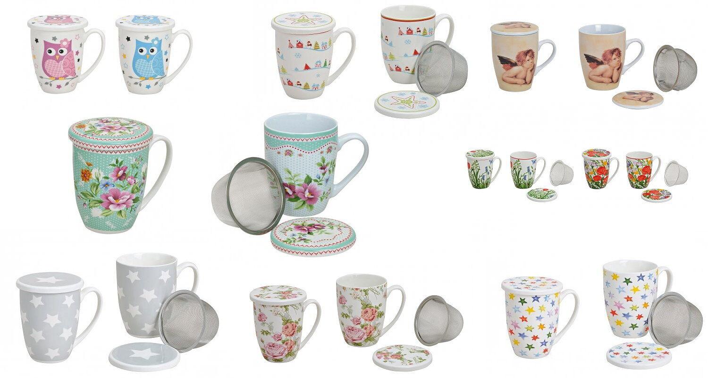 Tee Tasse Teebecher Set mit Sieb + Deckel Porzellan 11 cm 300 ml Motiv Auswahl