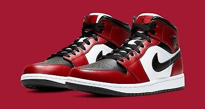 Nike New Air Jordan 1 Retro Mid Chicago Black Toe Men Sz 8-9-10-11-13 Authentic