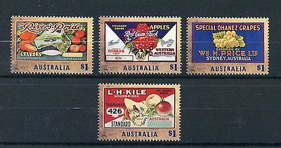 AUSTRALIA 2016 MNH NOSTALGIC FRUIT LABELS 4V SET FRUITS APPLES GRAPES STAMPS