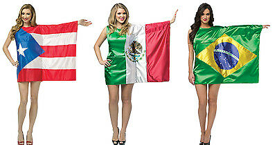 Flag Dress PUERTO RICO Brazil Mexico Brazilian Rican Mexican Adults 4-10 Womens