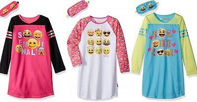 New EMOJI Girls Nightgown Size 8,10,12 Pajamas Long Sleeve Pink/Blue +Sleep Mask - 8 Emoji