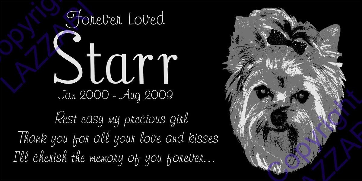 "Personalized Yorkshire Terrier Yorkie Pet Memorial 12""x6"" Granite Grave Marker"