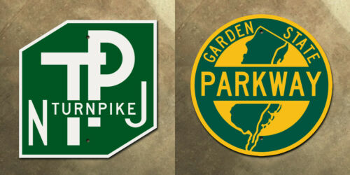 New Jersey Turnpike and Garden State Parkway highway marker road sign set