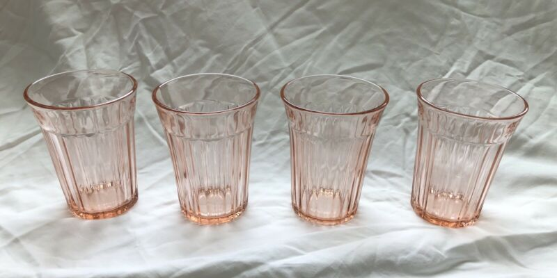 Pink Depression Glass Anchor Hocking Fortune Tumblers Set of 4