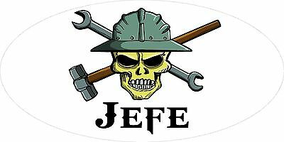 3 - Jefe Skull Oilfield Roughneck Hard Hat Helmet Sticker H335