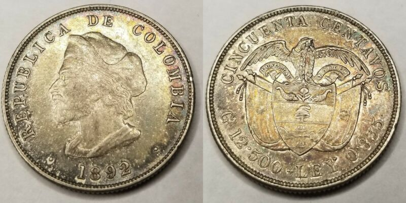 1892 Colombian 50 Centavos World Silver Coin - Colombia - Christopher Columbus
