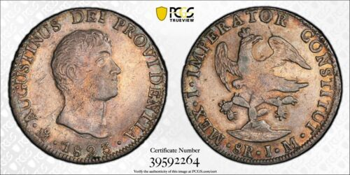 1823 MoJM MEXICO Empire Of Iturbide 8 Reales Silver Coin PCGS AU-Details,Cleaned