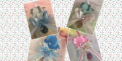 Pacifier Elephant Necklaces Baby Shower Games Favors Prizes Pink/Blue 12PC](Baby Shower Elephant)