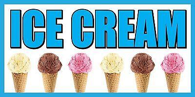 2x4 Ice Cream Vinyl Banner Sign - Blue