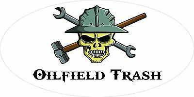 3 - Oilfield Trash Skull Oilfield Roughneck Hard Hat Helmet Sticker H318