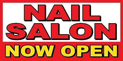 Nail Salon Now Open Banner Sign - Sizes 24 48 72 96 120