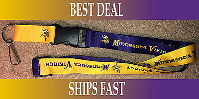 New Nfl Official Team Colors Reversible Keychain Lanyard  Minnesota Vikings