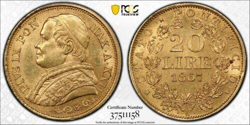 ITALY PAPAL STATES 1867-R  20 LIRE GOLD COIN, UNCIRCULATED PCGS CERTIFIED MS63