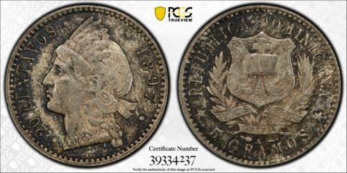 PCGS MS-64 DOMINICAN REPUBLIC SILVER 20 CENTAVOS 1897