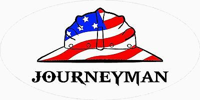 3 - Journeyman Us Flag Hard Hat Union Oilfield Tool Box Helmet Sticker H394