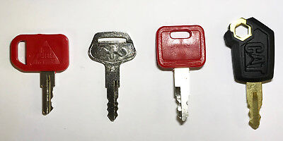 Heavy Equipment Key Set 4 Keys Cat John Deere  Komatsu