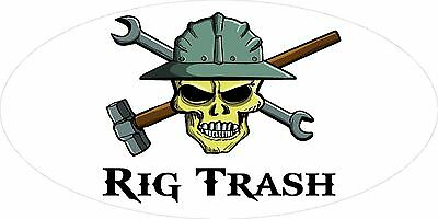 3 - Rig Trash Skull Oilfield Roughneck Hard Hat Helmet Sticker H300