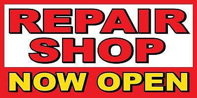 Repair Shop Now Open Banner Sign - Sizes 24 48 72 96 120